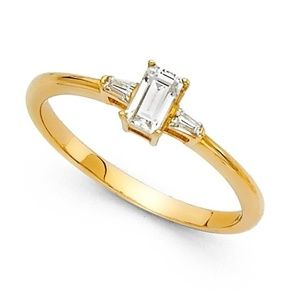 Jewelry - 14k Yellow OR White Gold Baguette Engagement Ring